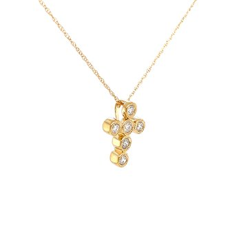 Sweet Expressions Bezel set Diamond Cross Pendant-14ky
