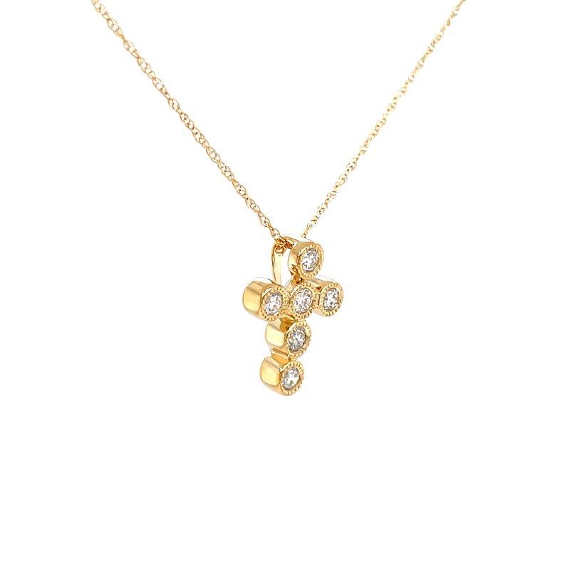 Bryan Beauties Sweet Expressions Bezel set Diamond Cross Pendant-14ky