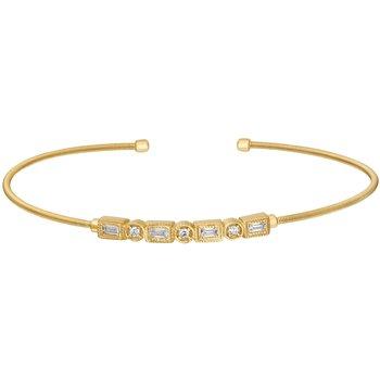 Emerald and Round CZ Cuff Bracelet in Yellow Vermeil