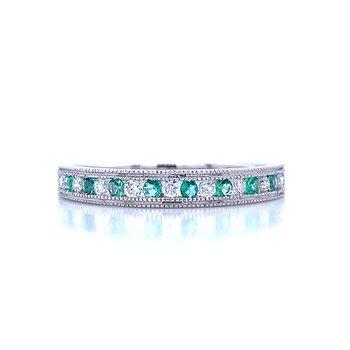 Channel Set Emerald and Diamond Band