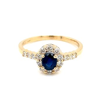 Sapphire & Diamond Halo Ring in 14ky