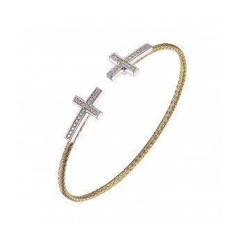 Sterling Silver 2mm Mesh Cuff with CZ set Crosses, 2 Tone, 18K Yellow Gold and Rhodium Finish