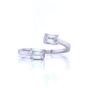 Bypass Emerald Cut Ring