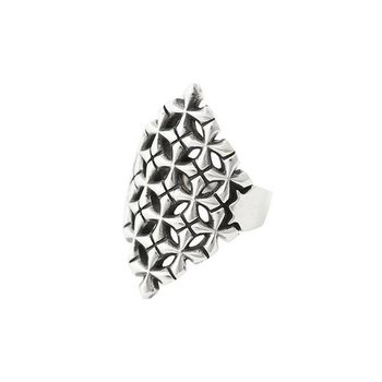 MB Cross Pattern Shield Ring