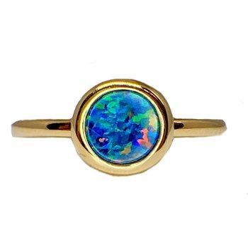 7mm Australian Opal Doublet in 14ky