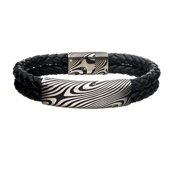 Damascus Steel Black Plated ID with Double Leather Bracelet