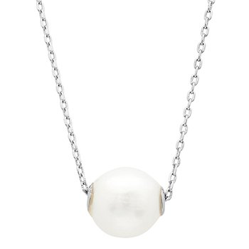 Floating Pearl Necklace- Sterling Silver