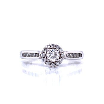Halo Framed Round Diamond Engagement Ring