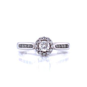 Halo Framed Round Diamond Engagement Ring