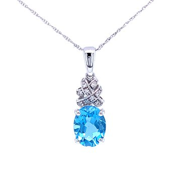 Oval Blue Topaz with Diamond Accents Pendant.