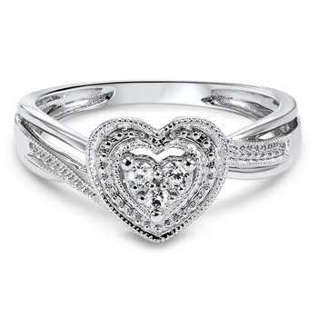 Heart Shaped Ring with Diamonds