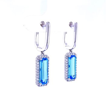 Blue Topaz and Diamond Dangles