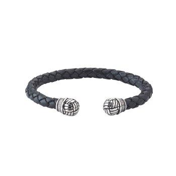 Woven Black Leather Men's  Bali Bracelet