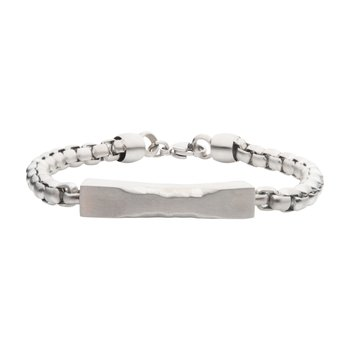Matte Steel Chiseled Engravable Drop with Bold Box Chain Bracelet