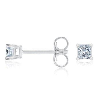 Princess Cut Diamond Earrings 1/3ctw