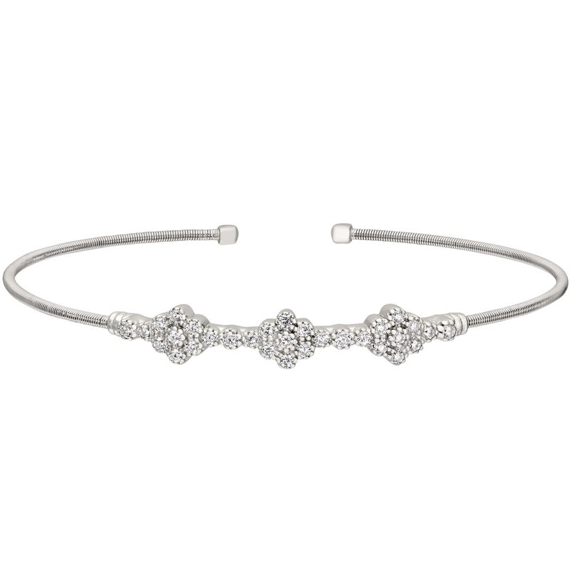 Bryan Beauties Three Cluster Cable Cuff in Sterling Silver