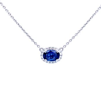 Sideways Oval Sapphire & Diamond Necklace-18k