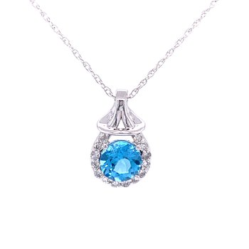 Blue Topaz & Diamond Drop Pendant