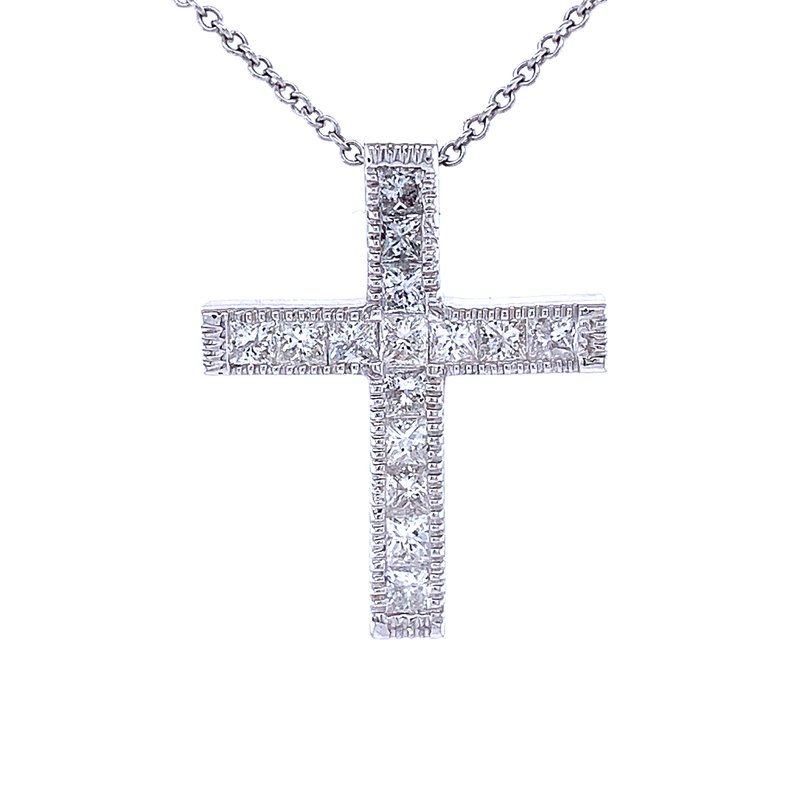 Bryan Beauties Princess Cut Diamond Cross Pendant