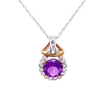 Amethyst & Diamond Drop Pendant