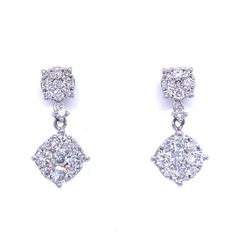 Round Shaped Diamond Cluster Dangle Earrings