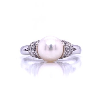 Pearl and Diamond Accented Ring