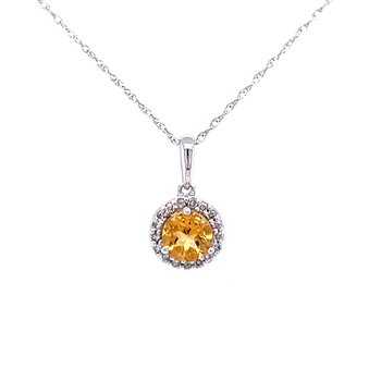 Citrine Pendant with Diamond Halo