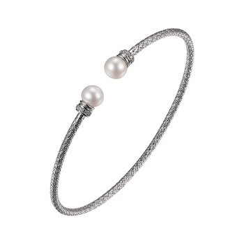 Sterling Silver 2mm Mesh Cuff with Freshwater Pearl and CZ, Rhodium Finish