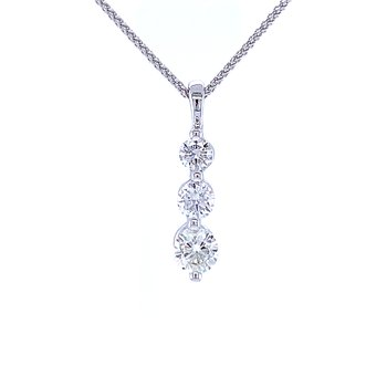 Three Stone Diamond Drop Pendant