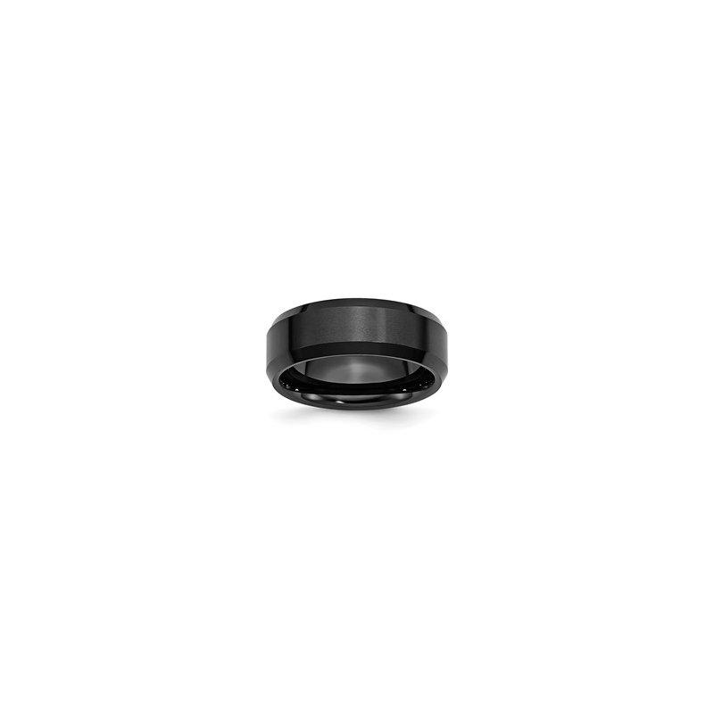 Bryan Beauties Ceramic Black Beveled Edge 8mm Brushed and Polished Band