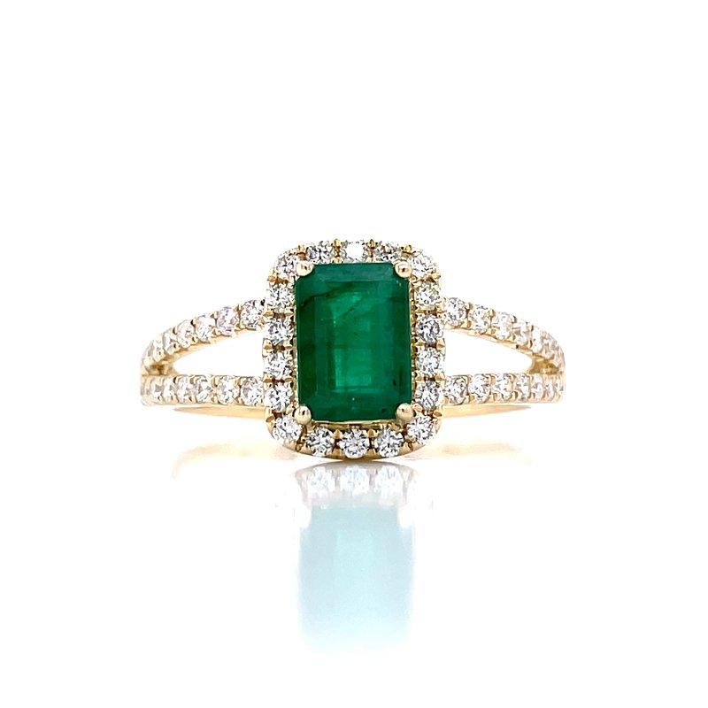Bryan Beauties Emerald & Diamond Halo with Split Shank Ring