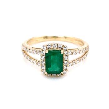 Emerald & Diamond Halo with Split Shank Ring