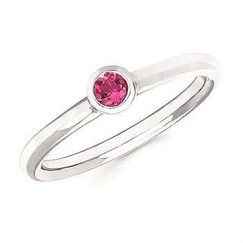 Pink Tourmaline Bezel Set Ring