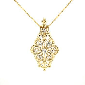 Vintage Cluster Diamond Pendant-yellow gold
