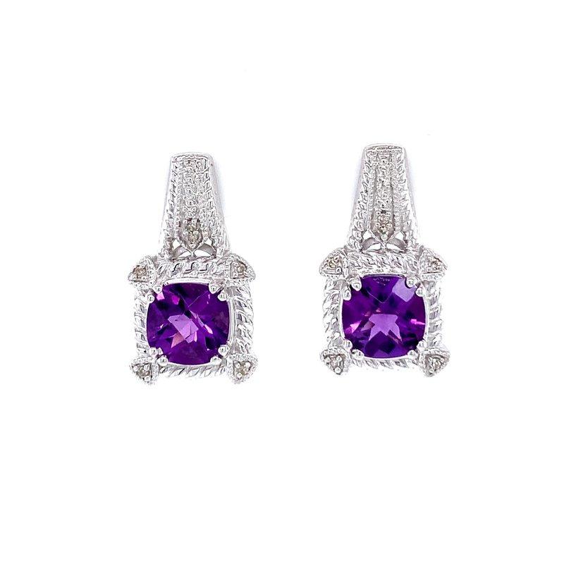 Bryan Beauties Cushion Cut Amethyst & Diamond Earrings