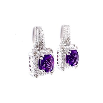 Cushion Cut Amethyst & Diamond Earrings