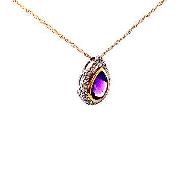 Two-tone Amethyst and Diamond Pendant