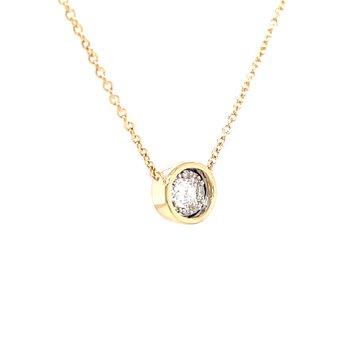 Sideways Oval Illusion Style Diamond Necklace