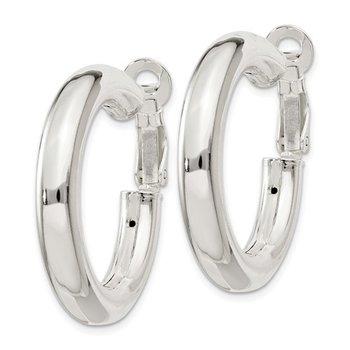Silver Hoop Earrings with Omega Backs