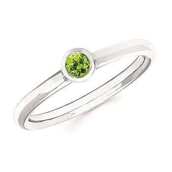 Peridot Bezel Set Ring