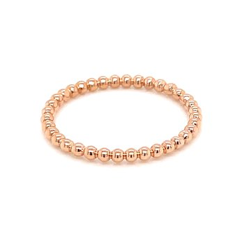 14k Rose Gold Beaded Stacker Band