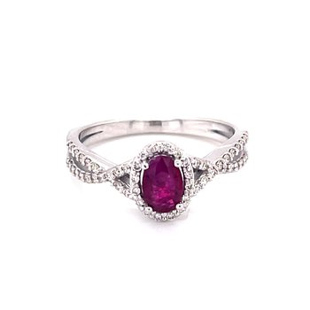 Ruby Halo Ring with Twisted Diamond Shank