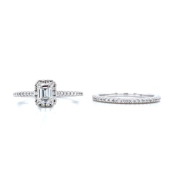 Romance Emerald Cut Halo Wedding Set