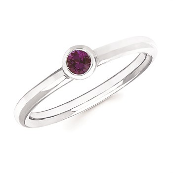 Created Alexandrite Bezel Set Ring