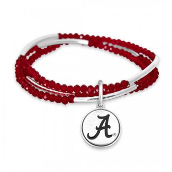 "Red Multi Strand Stretch Bracelet with ""A"""