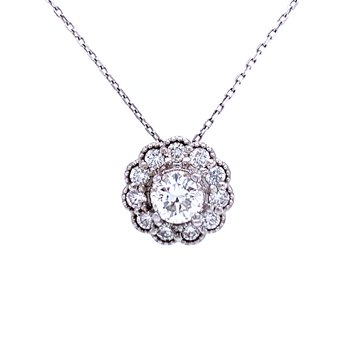 Diamond Necklace with Scalloped Halo