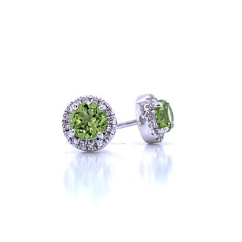 Peridot and Diamond Halo Studs