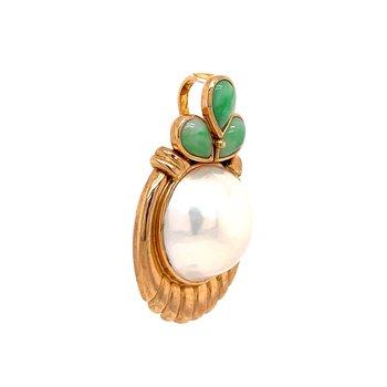 Mabe Pearl & Jadeite Pendant