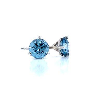 Evolv-Blue Diamond Earrings 1ctw