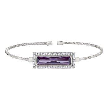 Rectangular Simulated PurpleStoneCuff Bracelet-Sterling Silver